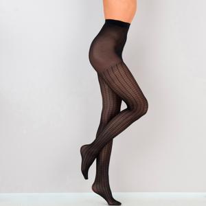 Blancheporte Punčové kalhoty s kostkami, 30 deniers, sada 2 kusů černá 3/4