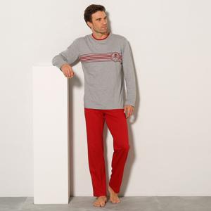 Blancheporte Pyžamo s kalhotami a dlouhým rukávem červená/šedý melír 87/96 (M)
