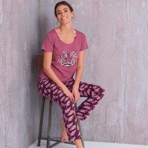 Blancheporte Pyžamo s motivem tygra, krátké rukávy švestková 50
