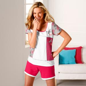 Blancheporte Pyžamo se šortkami a potiskem motýlků, s krátkými rukávy bílá 54