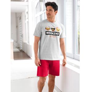 Blancheporte Pyžamo se šortkami Emoji šedý melír/červená 117/126 (XXL)