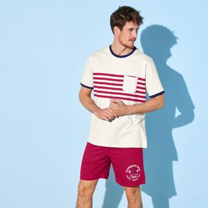 Blancheporte Pyžamo se šortkami v námořnickém stylu režná/červená 127/136 (3XL)