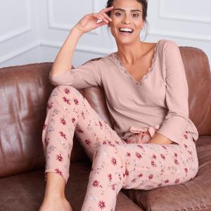 Blancheporte Pyžamové kalhoty s květinovým vzorem růžová 42/44