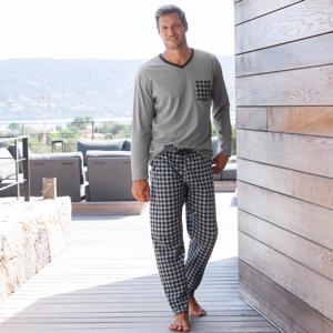 Blancheporte Pyžamové kalhoty s potiskem antracitová/šedá 68/70