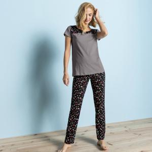 Blancheporte Pyžamové kalhoty s potiskem hvězdiček černá 42/44