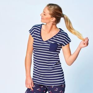Blancheporte Pyžamové pruhované tričko s krátkými rukávy bílá/nám.modrá 52