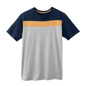 Blancheporte Pyžamové pruhované tričko s krátkými rukávy nám.modrá/žlutá/šedý melír 87/96 (M)