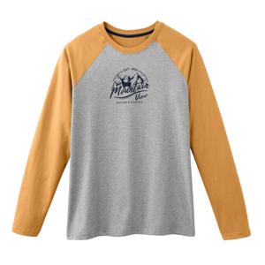 Blancheporte Pyžamové tričko s dlouhými raglánovými rukávy šedý melír/žlutá 97/106 (L)