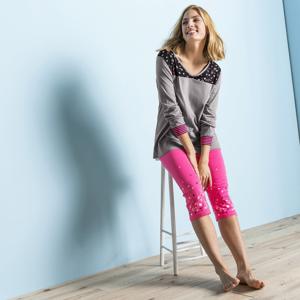 Blancheporte Pyžamové tričko s dlouhými rukávy, motiv hvězdiček šedá 54