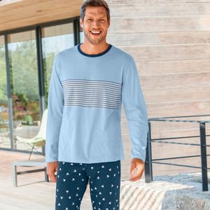 Blancheporte Pyžamové tričko s dlouhými rukávy, světle modré světlemodrá 107/116 (XL)