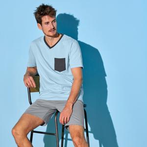 Blancheporte Pyžamové tričko s krátkými rukávy, nebesky modré nebeská modrá 87/96 (M)