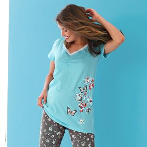 Blancheporte Pyžamové tričko s krátkými rukávy, středový potisk motýlů bledě modrá 34/36