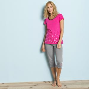 """Blancheporte Pyžamové tričko s motivem """"hvězdičkového deště"""" fuchsie 38/40"""