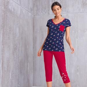 Blancheporte Pyžamové tričko s potiskem a krátkými rukávy nám.modrá 52