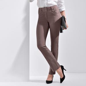 Blancheporte Rovné kalhoty s vysokým stahujícím pasem hnědošedá 36