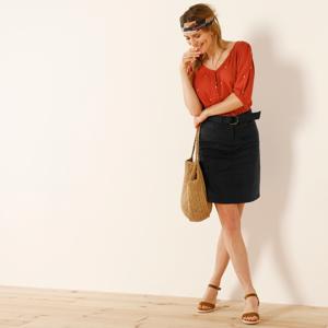 Blancheporte Rozšířená sukně s páskem černá 52