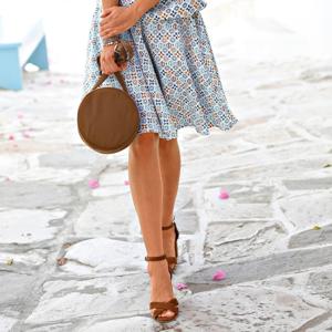 Blancheporte Rozšířená sukně s potiskem tyrkysová 40