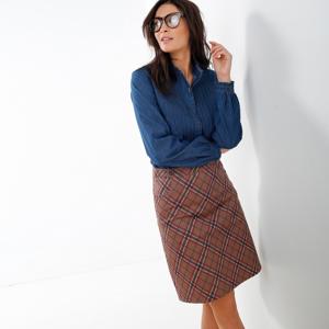 Blancheporte Rozšířená sukně se vzorem kostky karamelová/korálová 52