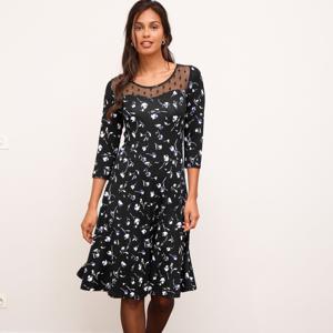 Blancheporte Rozšířené šaty s květinovým vzorem a vyšívanou náprsenkou černá 50