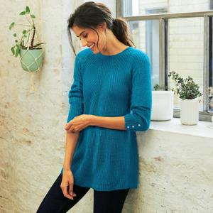 Blancheporte Rozšířený pulovr z anglického úpletu ledově modrá 42/44