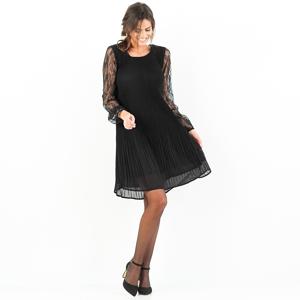 Blancheporte Šaty s plisováním a krajkou černá 38