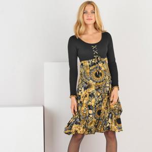 Blancheporte Šaty s potiskem a dlouhými rukávy černá/medová 50