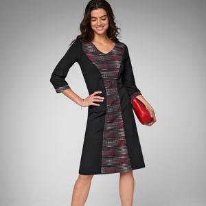Blancheporte Šaty s potiskem, v zeštíhlujícím střihu černá/bílá/červená 48