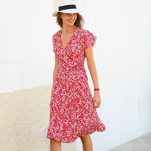 Blancheporte Šaty s překřížením a potiskem korálová/bílá 50