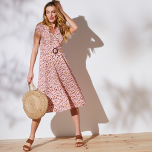 Blancheporte Šaty s překříženým výstřihem růžová/režná 44