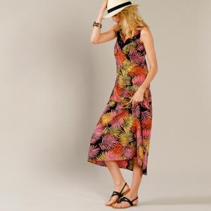 Blancheporte Šaty s tropickým vzorem černá 48
