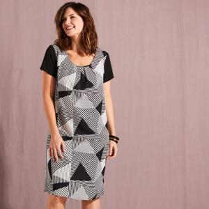 Blancheporte Šaty v grafickém designu černá/bílá 56