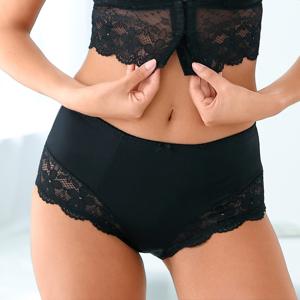 Blancheporte Stahující vysoké kalhotky z úpletu a krajky černá 54/56