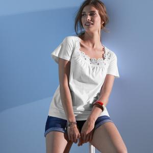 Blancheporte Tričko s výšivkou bílá 52