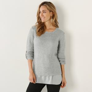 Blancheporte Třpytivý pulovr s efektem 2 v 1 šedá 50