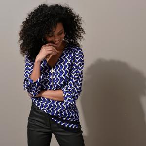 Blancheporte Tunika se zipem a grafickým designem tmavě modrá/černá 48
