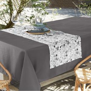 Blancheporte Ubrus se vzorem kytiček, polybavlna šedá 140x140cm
