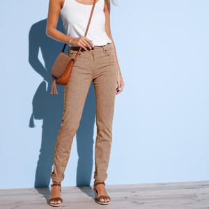 Blancheporte Úzké kalhoty s pruhy bílá/hnědošedá 36