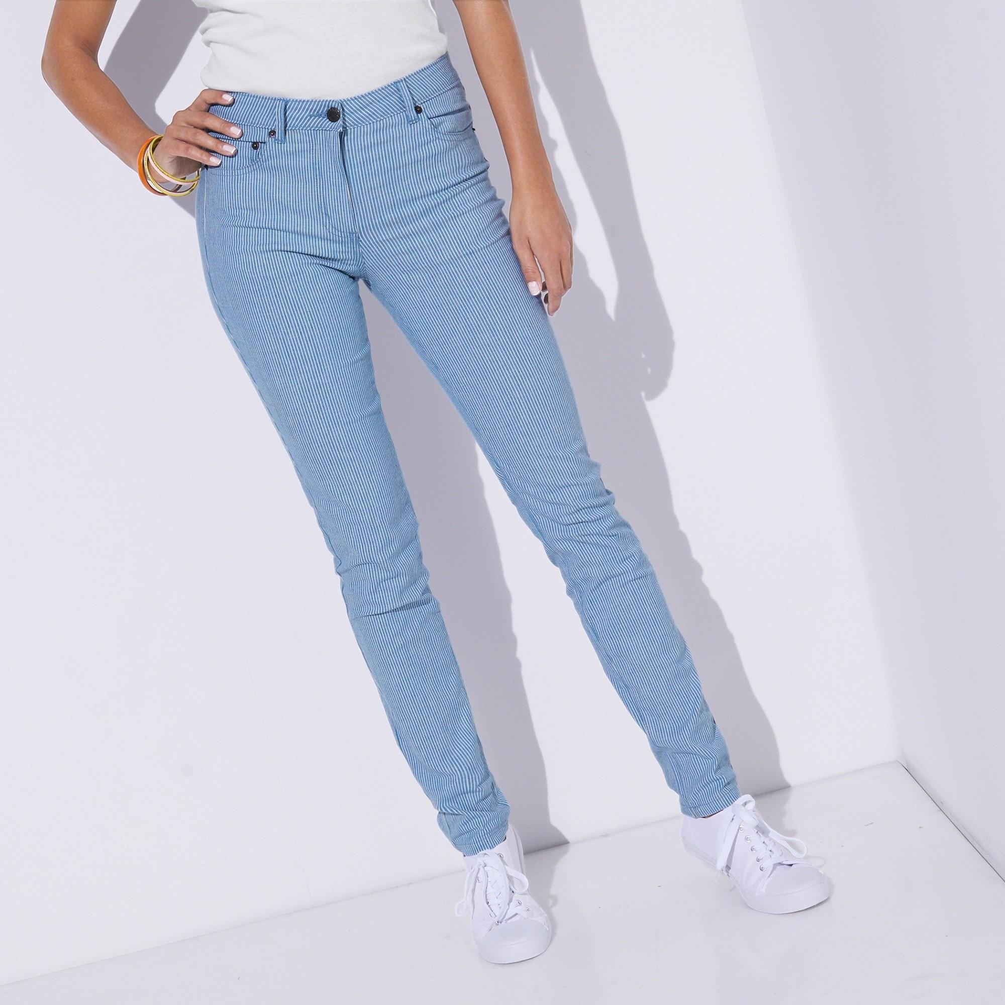 Blancheporte Úzké kalhoty s pruhy bílá/modrá 50