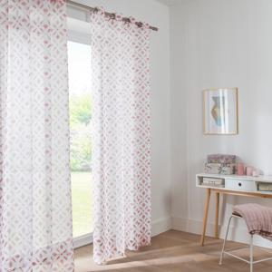 Blancheporte Vitrážová záclona s potiskem růžová 60x120cm