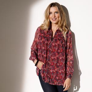 Blancheporte Voálová halenka s košilovým límečkem bordó/růžová 40