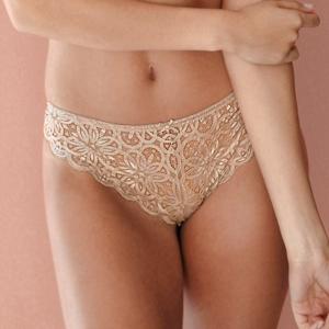 Blancheporte Vykrojené kalhotky z krajky Faro hnědošedá 42/44