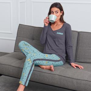 Blancheporte Vzdušné pyžamo, s potiskem a jednobarevné modrá/šedá 46/48