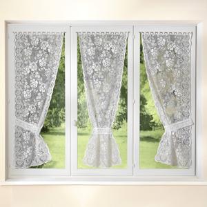 Blancheporte Záclona, květy bílá 60x220cm 3ks