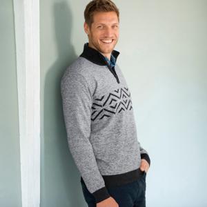 Blancheporte Žakárový pulovr se stojáčkem na zip šedá 87/96 (M)