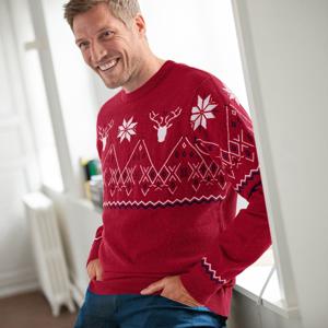 Blancheporte Žakárový pulovr se vzorem kosočtverců a sobů červená 87/96 (M)