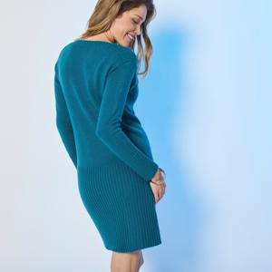 Blancheporte Žebrované pulovrové šaty zelená jedlová 38/40