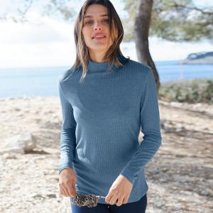 Blancheporte Žebrované tričko se stojáčkem modrošedá 52