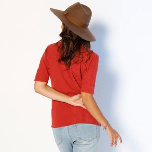 Blancheporte Žebrovaný pulovr s krátkými rukávy cihlová 34/36