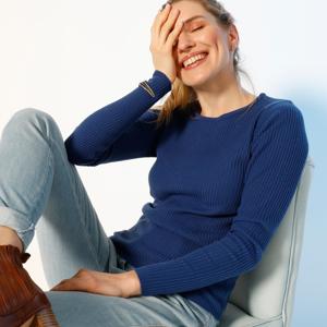 Blancheporte Žebrovaný pulovr s kulatým výstřihem tmavě modrá 54
