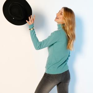 Blancheporte Žebrovaný pulovr s rolákem světle tyrkysová 54